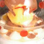 """""""Burbuja de aire de frutas de la pasión"""" con coulis de frambuesas, nieve de coco y sorbete de guayaba"""